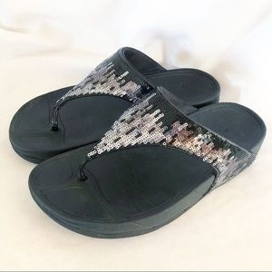 Fitflop black sequin thongs wedge sandals size 8